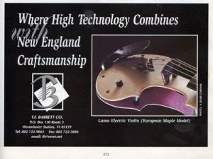 Tucker Barrett picture ad in The Strad, April 1997
