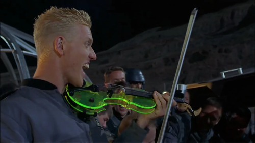 Starship Troopers - Posing with Tucker Barrett electric violin