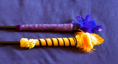 The droolworthy cane handles with hurley grips, feathers, and chicken.