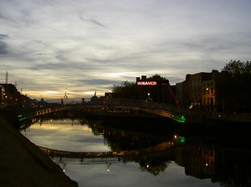 The Ha'penny Bridge and Yamamori Sushi - Larger view