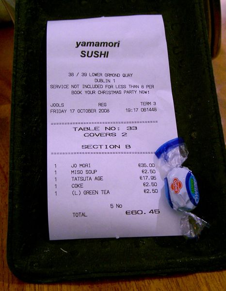 Yamamori Sushi - The Bill And Eskimo Mint