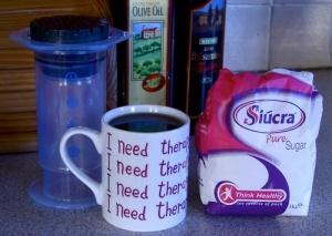 Mmmmm, Aeropress coffee, nearly ready to drink!  I like sugar in mine.
