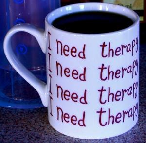 Aeropress coffee, in my 'I need therapy' mug.