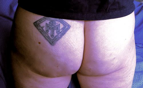Mensa Diamond Tattoo - Arse Close-Up. In celebration of the 60th Diamond