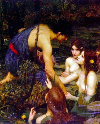 Detail from the John William Waterhouse painting Hylas and the Nymphs (1896), currently kept at the City Art Galleries, Manchester.