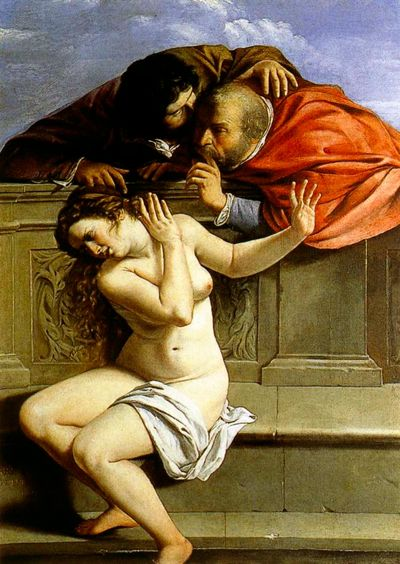 Susanna and the Elders - painted in 1610 by Artemisia Gentileschi, kept at Schloss Weissenstein, Pommersfelden.