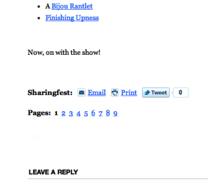 Pagination links as shown in the WordPress 'Coraline' theme.