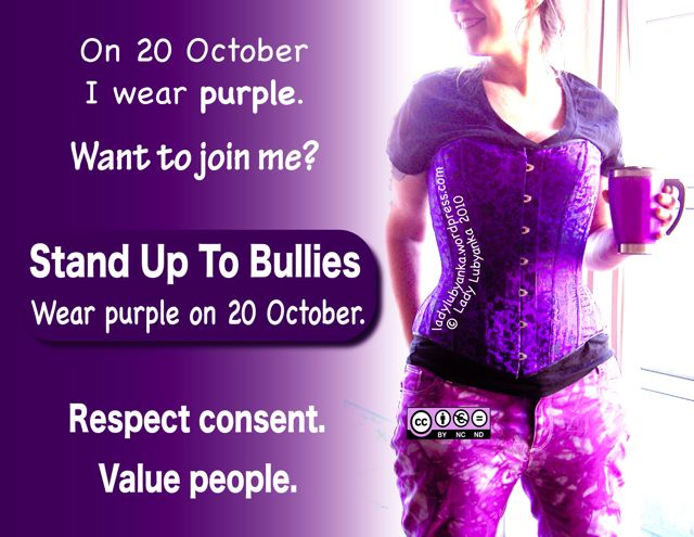 Creative Commons by-nc-nd licensed image promoting wearing purple to support anti-bullying