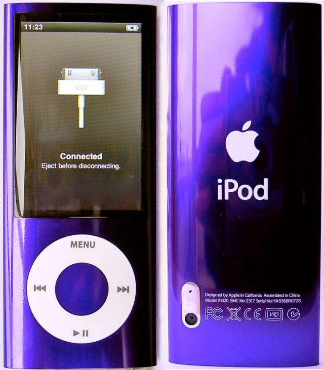 iPod Nano 5G purple - front and back views